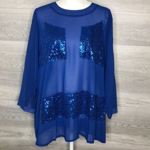 NWT Blue Sheer Sequin Top by COC Size 3X